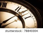 Clock Retro Background In Sepi...