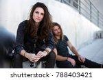 homeless couple living on... | Shutterstock . vector #788403421