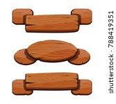 vector set with cartoon wooden...