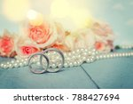 wedding rings with pearls and... | Shutterstock . vector #788427694