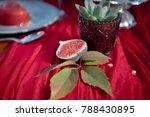 fresh halved fig appetizer on a ...   Shutterstock . vector #788430895