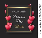 valentines day sale banner with ... | Shutterstock .eps vector #788456605