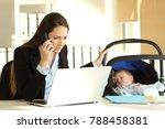 stressed mother working... | Shutterstock . vector #788458381