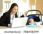 happy single mother working on... | Shutterstock . vector #788458399