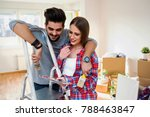 young couple choosing colors... | Shutterstock . vector #788463847