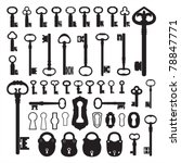 silhouettes of old keys | Shutterstock .eps vector #78847771