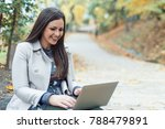 beautiful young woman using... | Shutterstock . vector #788479891