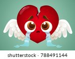 cute heart with wings crying... | Shutterstock .eps vector #788491144