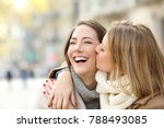 affectionate girl kissing to... | Shutterstock . vector #788493085