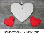 rustic wooden heart and red... | Shutterstock . vector #788496985