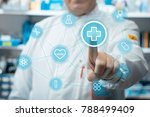 male doctor using healthcare... | Shutterstock . vector #788499409