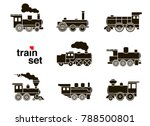 Set Of Train Icons On White...