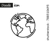 planet earth icon. doodle line...