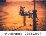 Stuffing Box of Pumpjack Closeup Photo. Oil Industry Technologies. - stock photo