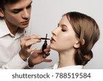make up artist doing make up... | Shutterstock . vector #788519584