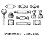 set of ink drawing candy.... | Shutterstock .eps vector #788521207