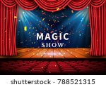 a theater stage with a red...   Shutterstock .eps vector #788521315