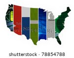 The United States of credit,Various credit cards in the shape of the United States - stock photo