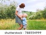 child boy hugging and kissing... | Shutterstock . vector #788554999
