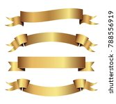 set of golden ribbons vector. | Shutterstock .eps vector #788556919