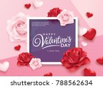Stock vector happy valentines day romance greeting card with roses and hearts 788562634