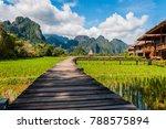 vangvieng field  laos | Shutterstock . vector #788575894