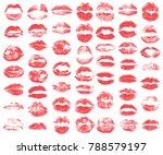 print of red lips set. world... | Shutterstock .eps vector #788579197