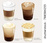 set of coffee types   vector... | Shutterstock .eps vector #788584255