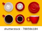 set of empty and full red cups... | Shutterstock . vector #788586184