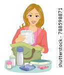 illustration of a mom packing... | Shutterstock .eps vector #788598871