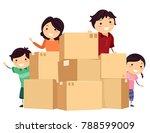 illustration of stickman family ... | Shutterstock .eps vector #788599009