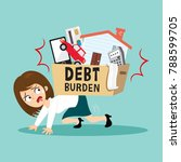 businesswoman under stress with ... | Shutterstock .eps vector #788599705