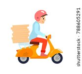 delivery  the guy on the... | Shutterstock .eps vector #788605291