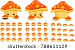 animated cute mushroom creature ... | Shutterstock .eps vector #788611129