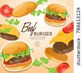 set of burgers   beef burger... | Shutterstock .eps vector #788613124