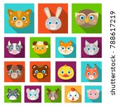 muzzles of animals flat icons... | Shutterstock .eps vector #788617219