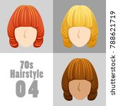 70s vintage hairstyle set  ... | Shutterstock .eps vector #788621719
