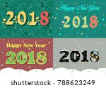 happy new year 2018. four retro ... | Shutterstock . vector #788623249