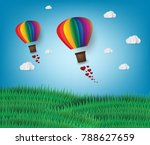 origami made hot air balloon in ...   Shutterstock .eps vector #788627659