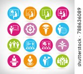 business management icons in... | Shutterstock .eps vector #788636089