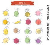 fruits minimal thin line icons... | Shutterstock .eps vector #788636335