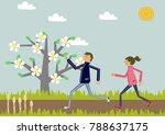 marathon.cherry blossom. image ...   Shutterstock .eps vector #788637175
