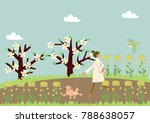 dog walking. a woman and a dog. ...   Shutterstock .eps vector #788638057