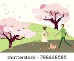 dog walking.scenery of cherry... | Shutterstock .eps vector #788638585