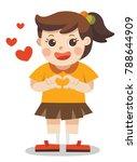 a cute girl making heart shape... | Shutterstock .eps vector #788644909