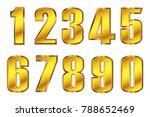 gold numbers set.vector metal...   Shutterstock .eps vector #788652469