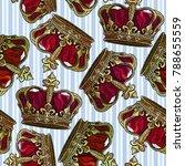 embroidery golden crown...   Shutterstock .eps vector #788655559