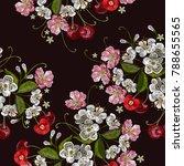 embroidery cherry. template for ... | Shutterstock .eps vector #788655565