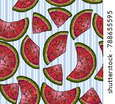 hand drawing fruits watermelons ... | Shutterstock .eps vector #788655595