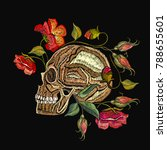 embroidery skull and flowers.... | Shutterstock .eps vector #788655601